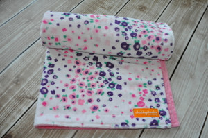 Forest Fields Pink stroller blanket with pink minky back