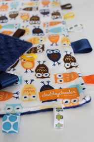 Orange / Blue Owls tag blanket (large) with navy minky back.