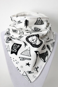 Adventure Awaits - Forest Dreaming bandana bib with bamboo back.