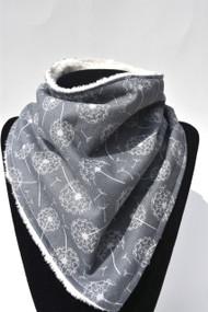Dandelions bandana bib with ivory minky back.