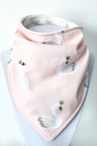 Swans bandana bib with bamboo back.