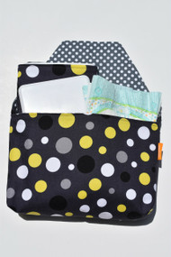 Yellow and Grey dot on black diaper-to-go bag.