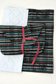 Aztec Stripe diaper-to-go bag closed view
