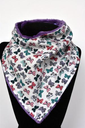 Mothlike shadows bandana bib with purple minky back