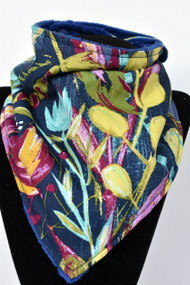 Painted Desert Night bandana bib with navy minky back