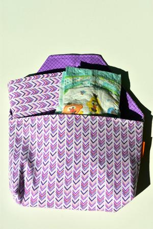 Diaper-to-go bag in Purple chevron pattern.