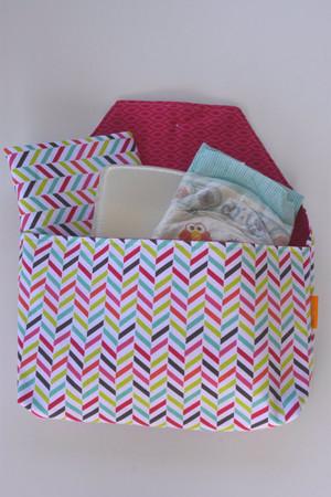 Girly herringbone diaper-to-go bag