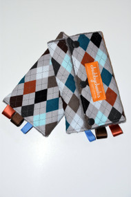 Grey Argyle baby carrier drool pads