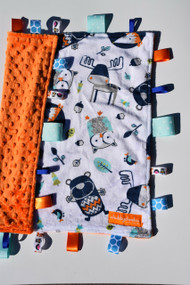 Into the Woods large tab blanket with orange minky back