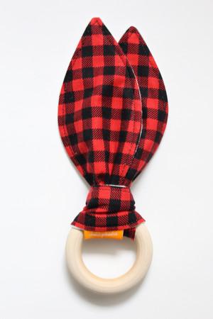 Lumberjack Plaid wooden teether