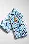 Blue Herringbone baby carrier drool pads - no ribbons