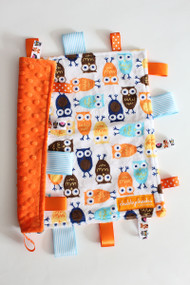 Orange/Blue Owls tag blanket (small) with orange minky back.