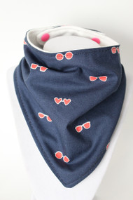 Pink Sunglasses bandana bib with bamboo back