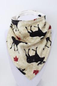 Canada Moose bandana bib with organic bamboo back.
