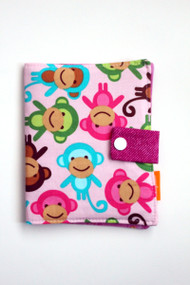 Pink Monkeys crayon wallet closed view