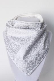 Itsy Bitsy Alphabet Silver bandana bib with organic bamboo back.