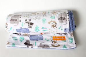 Zoo Animals stroller blanket with denim minky back