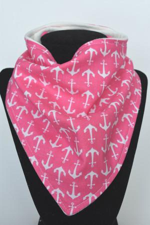Pink Anchors bandana bib with bamboo back