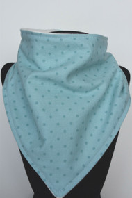 Light Teal Dot bandana bib with bamboo back