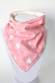 Pink Teepees bandana bib with bamboo back