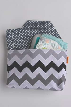 Black Grey and White Chevron Diaper-to-go bag