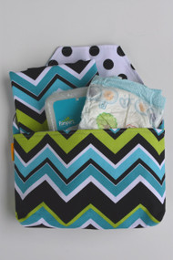 Lagoon Chevron Diaper-to-go bag open view