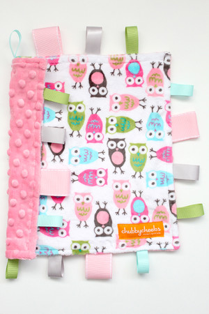 Pink Owls small tag blanket
