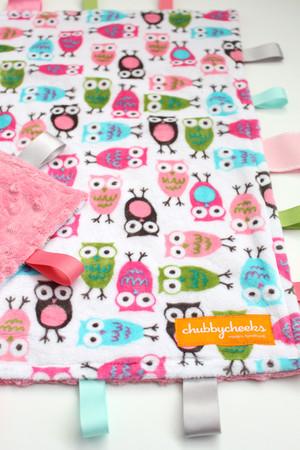 Pink Owls large tag blanket