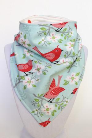Spring Birdies bamboo backed bandana bib
