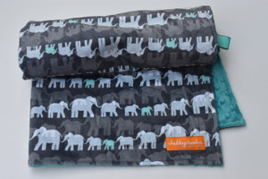 Stroller blanket in elephant march teal.