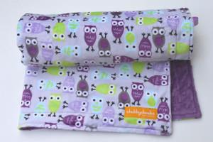 Purple Owls stroller blanket