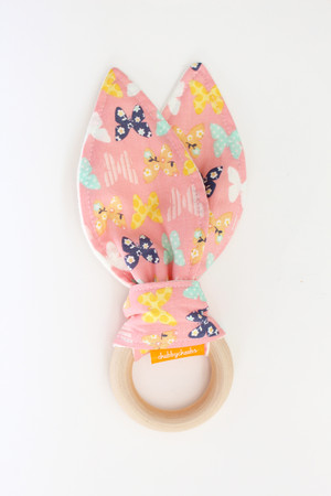 Pink Butterfly wooden teether