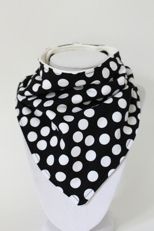 Black and White Dot bandana bib with bamboo back