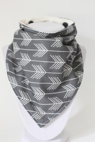 Grey Chevron Arrow bandana bib with bamboo back