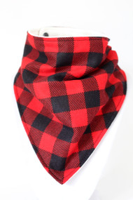 Large Buffalo Plaid flannel bandana bib with bamboo back.