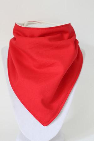 Solid Red bandana bib with bamboo back.