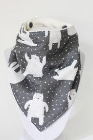Snowy Polar Bears bandana bib with bamboo back.