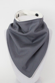 Solid Steel Grey bandana bib with bamboo back.