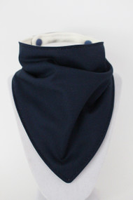 Solid Navy Blue bandana bib with bamboo back.