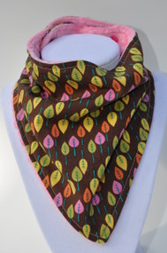 Bandana Bib - Funky Leafs on Brown