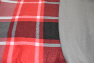 Large Plaid Grey/ Red shades with grey fleece back