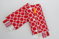 Circles on red with ivory minky.