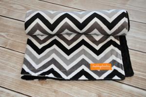 Black and Grey Chevron stroller blanket