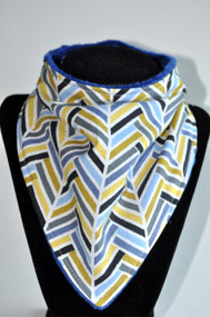 Toned Herringbone bandana with navy minky