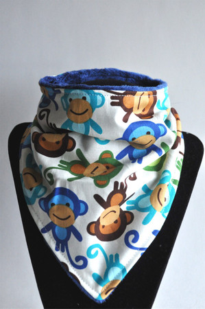 Blue Monkey with navy minky backing