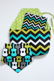 Guitars and Chevrons gift set, includes a Diaper-To-Go Bag with a coordinating bandana bib.