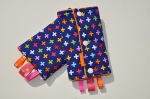 Navy with colourful crosses baby carrier drool pads