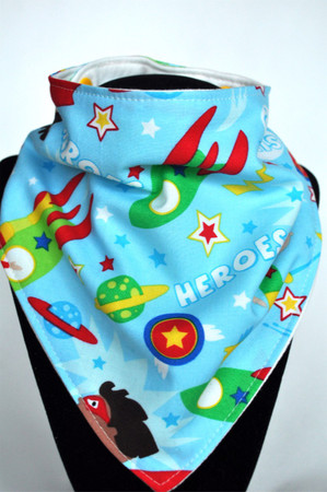 Blue Heroes bandana bib with bamboo back.