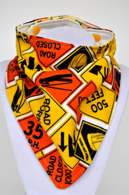 Construction signs bandana bib with bamboo backing.