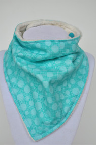 Teal hashmark bandana bib with ivory minky back